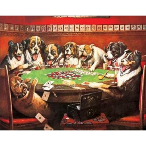 Plechová ceduľa DRUKEN DOGS PLAYING CARDS, (41 x 32 cm)