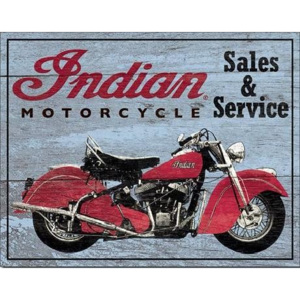 Plechová ceduľa INDIAN MOTORCYCLES - Parts and Service, (40 x 31,5 cm)