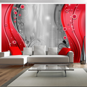 Fototapeta - Behind the curtain of red 150x105 cm