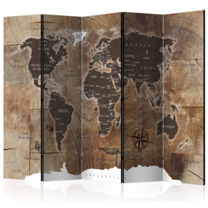 Paraván - Room divider – Map on the wood 225x172