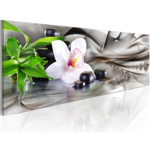 Obraz - Zen composition: bamboo, orchid and stones 120x40