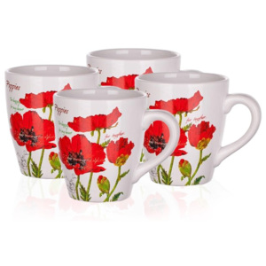 Banquet Red Poppy hrnček 500 ml, sada 4 ks