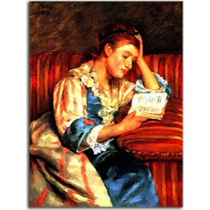 Mrs. Duffee Seated on a Striped Sofa, Reading Obraz zs17616