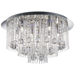 Searchlight Searchlight 9198-8CC BEATRIX - BLUE LED/8LT CEILING FLUSH, CHROME, TWIST TUBES & CLEAR CRYSTAL BALL DROPS