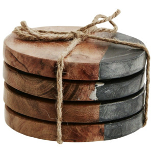 Okrúhle podtácky Wood/black marble - set 4 ks