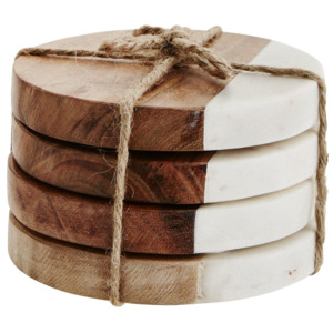 Okrúhle podtácky Wood/white marble - set 4 ks