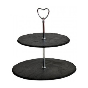 Crela 2 - Tier Rounded Slate Cake Stand - hearth holder 24x24x23 cm