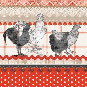 Obrúsky paw l 33x33cm the cry of rural rooster