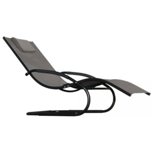 Vivere Wave Lounger Black Chrome (with frame)