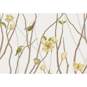 TENNESSEE WARBLER ON TWIG WITH MAGNOLIA – 200 x 100 cm