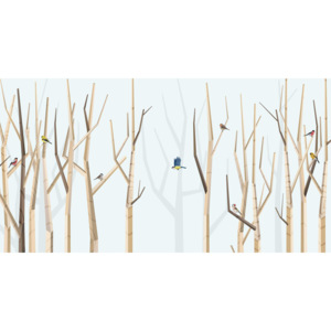 BIG FOREST AND VARIOUS BIRDS – BLUE – 200 x 100
