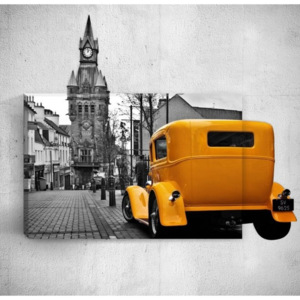 Nástenný 3D obraz Mosticx Yellow Retro Car In City, 40 × 60 cm