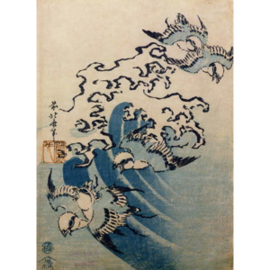 Katsushika Hokusai - Reprodukcia, Obraz - Waves and Birds, c.1825