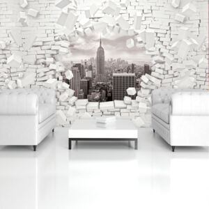 Fototapeta - New York a 3D Brickwall (152,5x104 cm)