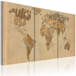 Obraz - The world map in beige and brown 60x30