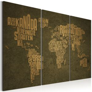 Obraz - The map of the World, German language:Beige continents - triptych 60x40