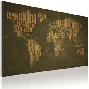 Obraz - The map of the World, German language:Beige continents 60x40