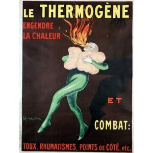 Cappiello, Leonetto - Reprodukcia, Obraz - The thermogen generates heat and fights cough, rheumatism, side points etc: poster by Leonetto Cappiello , 1926. A man warmed by the medicine spits out a flame. BN, Paris