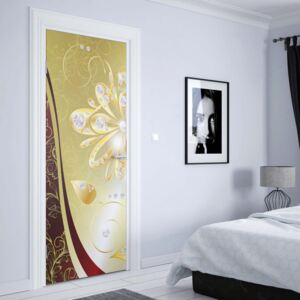 GLIX Fototapeta na dvere - Luxury Gold And Red Floral Design
