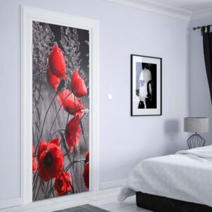 GLIX Fototapeta na dvere - Red Poppies Black And White