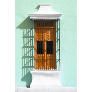 Umelecká fotografia Orange Window and Coral Green Wall in Campeche, Philippe Hugonnard