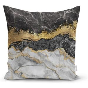 Obliečka na vankúš Minimalist Cushion Covers BW Marble With Golden Lines, 45 x 45 cm
