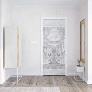 GLIX Fototapeta na dvere - White And Grey Line Drawing Architecture