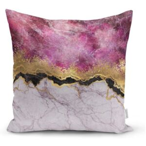 Obliečka na vankúš Minimalist Cushion Covers Marble With Pink And Gold, 45 x 45 cm