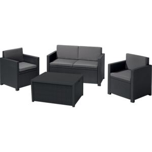 ALLIBERT MONACO SET WITH STORAGE TABLE antracit/sivá (216779) - set záhradného nábytku