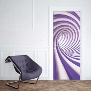 GLIX Fototapeta na dvere - 3D Swirl Tunnel Purple And White