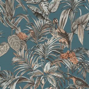 DUTCH WALLCOVERINGS Tapeta Bird-of-Paradise modrá