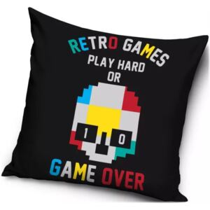 Carbotex · Obliečka na vankúš Retro Games - Play hard or game over - 40 x 40 cm