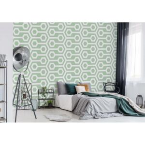Fototapeta GLIX - Green Geometric Retro Pattern +