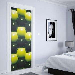 GLIX Fototapeta na dvere - 3D Green And Black Ball Pattern