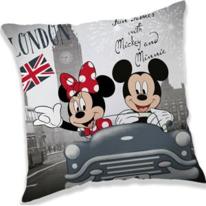 Jerry Fabrics Vankúšik Mickey and Minnie London, 40 x 40 cm