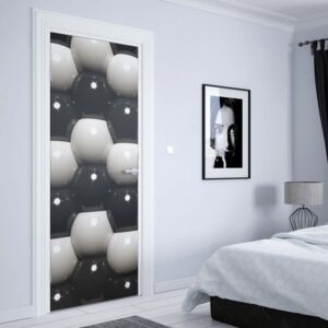 GLIX Fototapeta na dvere - 3D Grey And Black Ball Pattern