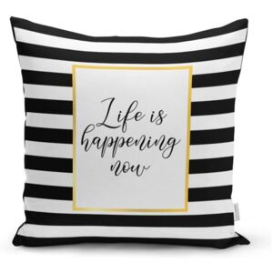 Obliečka na vankúš Minimalist Cushion Covers BW Stripes With Motto, 45 x 45 cm
