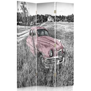 CARO Paraván - Pink Car In The Field | trojdielny | obojstranný 110x150 cm