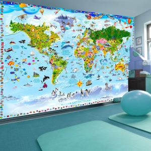 Fototapeta - World Map for Kids + zadarmo lepidlo - 200x140