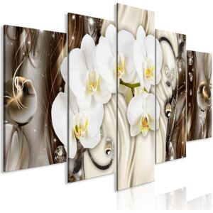 Obraz - Orchid Waterfall (5 Parts) Wide Brown 225x100