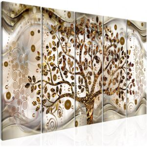 Obraz - Tree and Waves (5 Parts) Brown 200x80