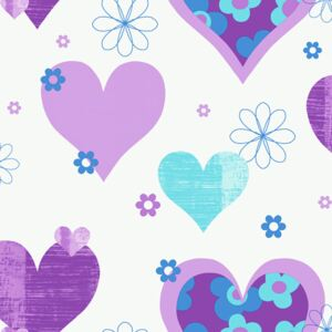 Arthouse Tapeta na stenu - Happy Hearts Happy Hearts Purple