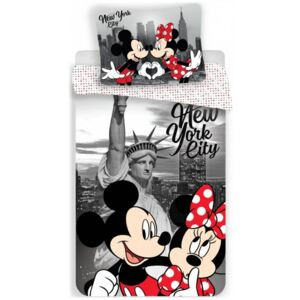 Jerry Fabrics · Posteľné obliečky Mickey & Minnie Mouse in New York - Disney - 100% bavlna - 70 x 90 cm + 140 x 200 cm