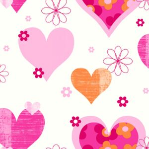 Arthouse Tapeta na stenu - Happy Hearts Happy Hearts Pink/Orange