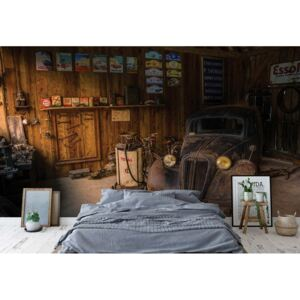 Fototapeta GLIX - Vintage Car Dusty Garage + lepid