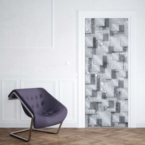 GLIX Fototapeta na dvere - Abstract 3D Design Squares Grey