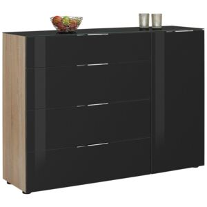KOMODA HIGHBOARD, antracitová, dub sonoma