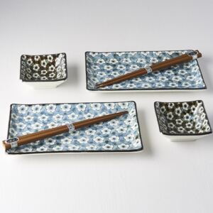 MADE IN JAPAN Sushi set Navy & White UME Design 4ks