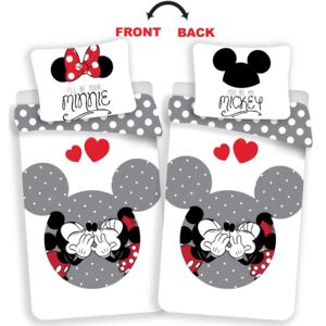 Jerry Fabrics Obliečky Mickey and Minnie love grey 140x200, 70x90 cm
