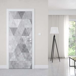 GLIX Fototapeta na dvere - Modern Geometric Triangles Pattern Grey